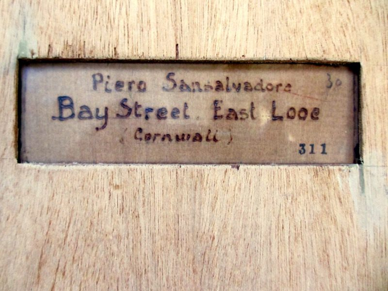 Impressionist impasto study of Bay Street East Looe, Cornwall, oil on board, signed R Sansalvatore 1947. Detail. Frame, verso. Artist's name and tile burned into board support.