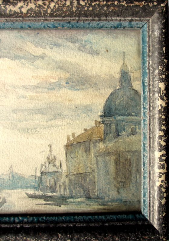 Venice Scene, watercolour, unsigned. Godwin Bennett, c1920. Detail.