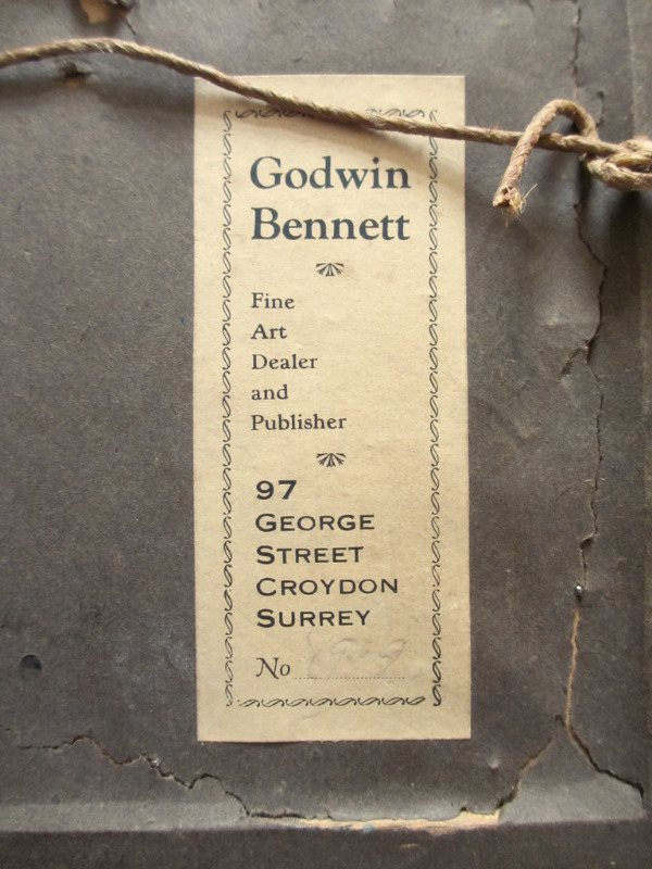 Venice Scene, watercolour, unsigned. Godwin Bennett, c1920. Frame, verso. Label.