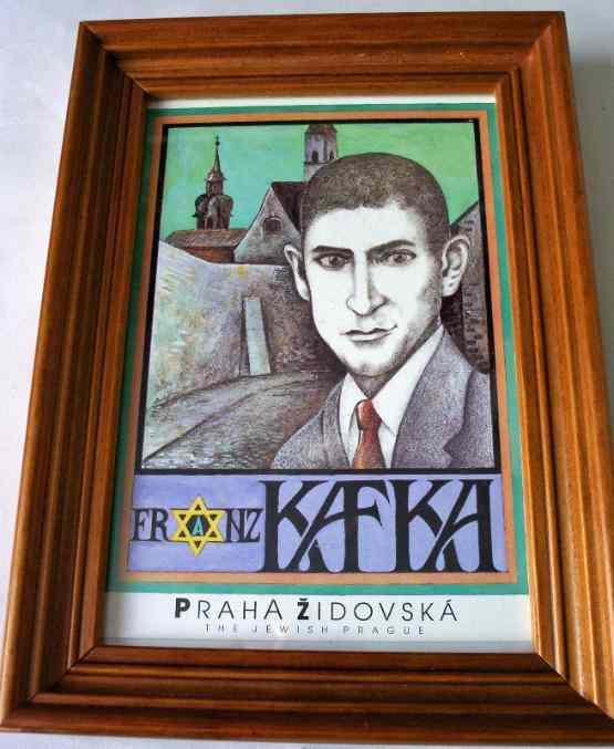 Franz Kafka, postcard print, Praha Zidovska (The Jewish Prague).