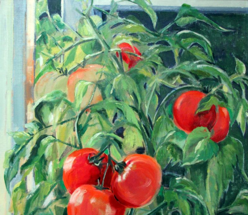 Tomato Summer, oil on board, signed Jean Clark, c1969. Detail.