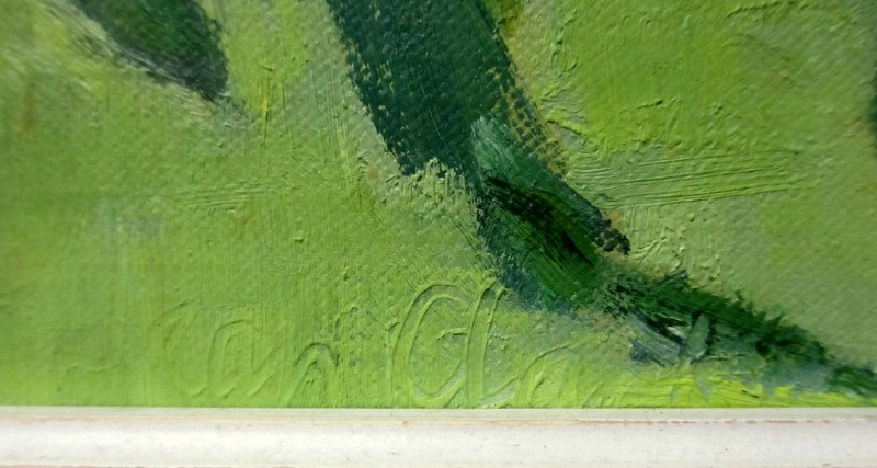 Tomato Summer, oil on board, signed Jean Clark, c1969. Detail. Signature lower rh corner.