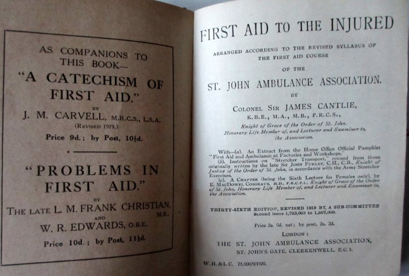 First Aid to the Injured, St. John Ambulance Assocn., Col. Sir James Cantlie, 36th Edn., 1920. Detail.