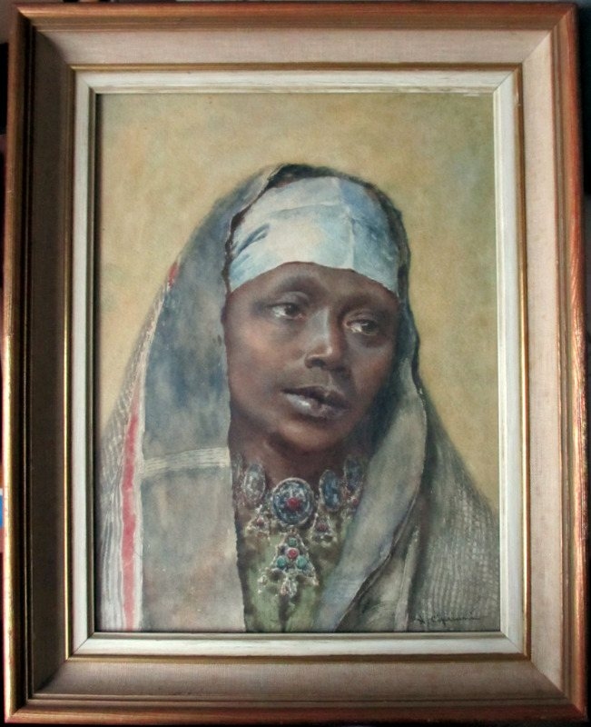 Portrait of an Arab Woman, watercolour on paper, signed N. Cipriani, c1890.