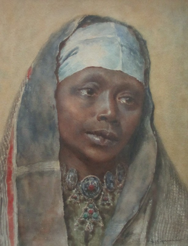 Portrait of an Arab Woman, watercolour on paper, signed N. Cipriani, c1890. Detail.