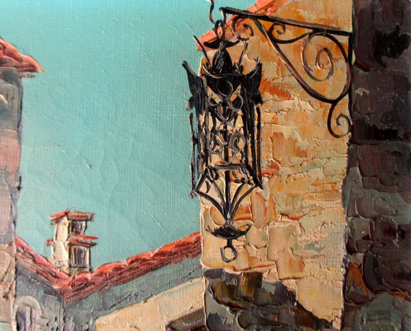 Street Scene, Eze Village, France, oil on canvas, signed M. Juegin c1960. Detail.