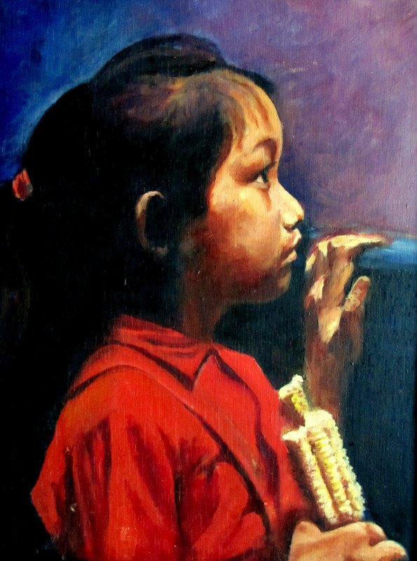Profile Portrait of an Asian Girl eating Corn, oil on board, A.W. Hannaford. c1940. Detail.
