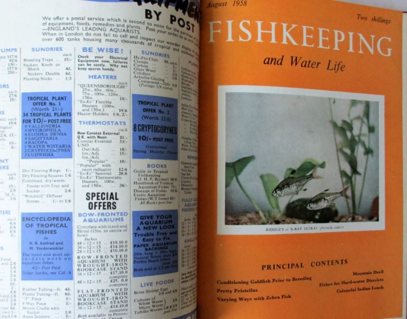 Fishkeeping and Water Life Nov 1957 - Dec 1958 bound volume (14 months). Details.
