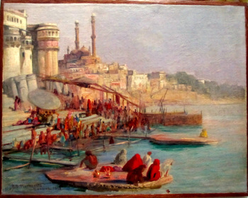 Benares, oil on canvas laid to board, signed R.D. MacKenzie 1898.   SOLD  13.11.2014.