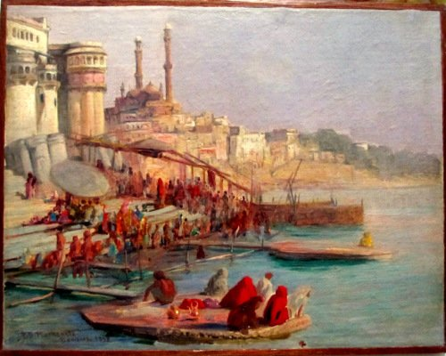 Benares, oil on canvas laid to board, signed R.D. MacKenzie 1898.