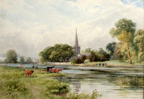 Trinity Church, Stratford on Avon, Nov. 9th. 1895, watercolour, signed W.H.