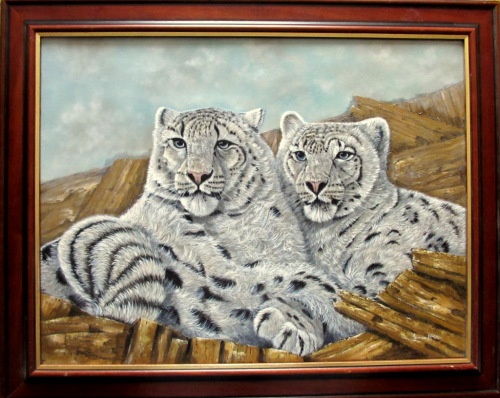 Pair of Snow Leopards, oil on canvas, signed James Noble, c1980. Framed.