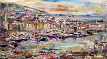 Girne Harbour, Northern Cyprus, oil on canvas, signed S. Mustafa 88. Saleh Mustafa Cizel 1988.