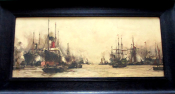 The Lower Pool, London, chromolithograph of watercolour by Charles Dixon 1909. Original frame.   SOLD  07.11.2014.