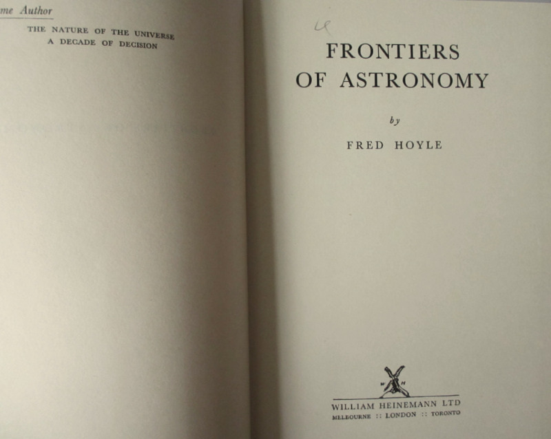 Frontiers of Astronomy by Fred Hoyle 1955 1st Edition. Detail.