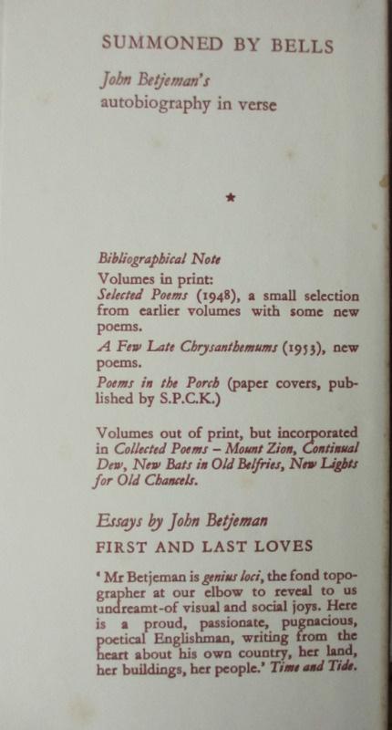 John Betjeman's Collected Poems, 1960 Details.