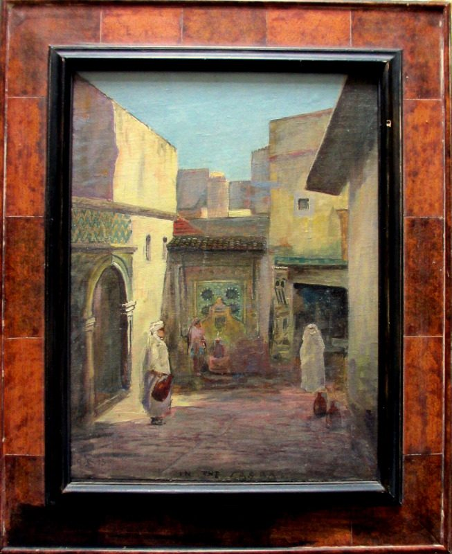 In the Casbah, oil on canvas laid to board, signed monogram CS 1915.