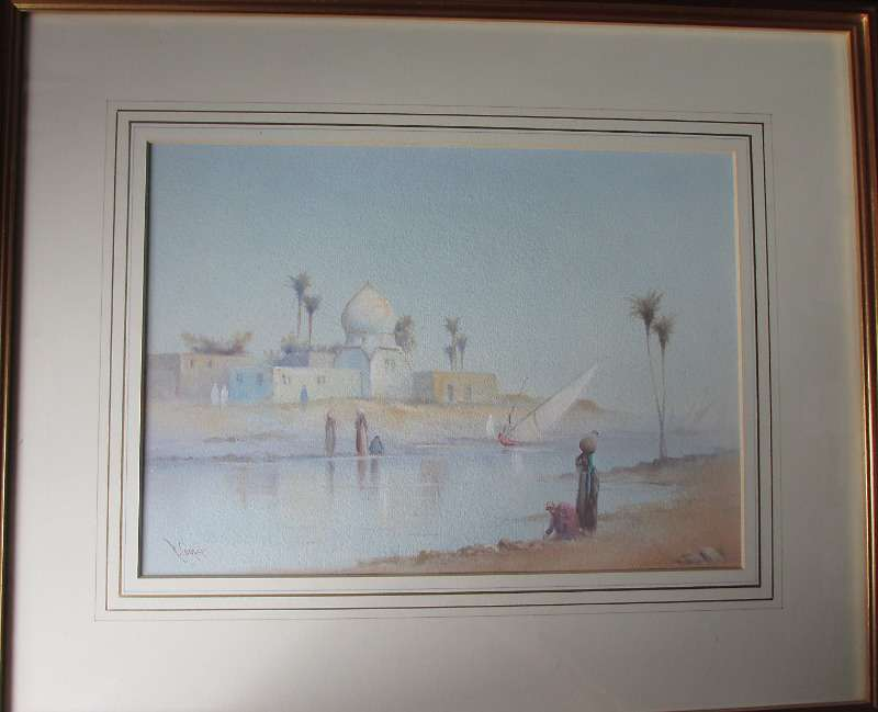 Arabian River Scene with Figures, signed R. Cooper, watercolour c1900. Sold