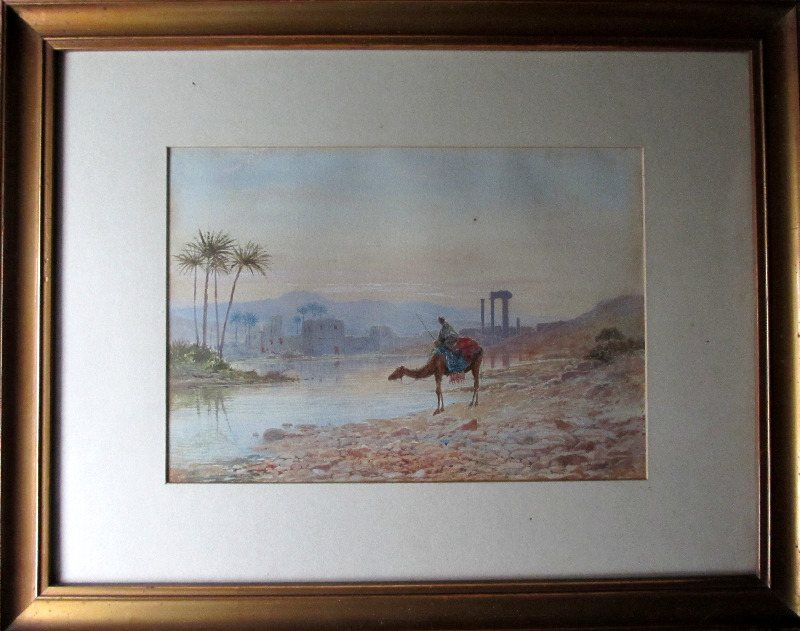North African Oasis, The Watering Place, watercolour on paper, signed J.W. Hepple, 1915.hepple sold