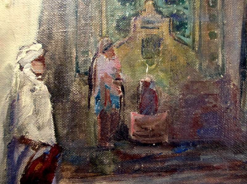 In the Casbah, oil on canvas laid to board, signed monogram CS 1915. Detail.