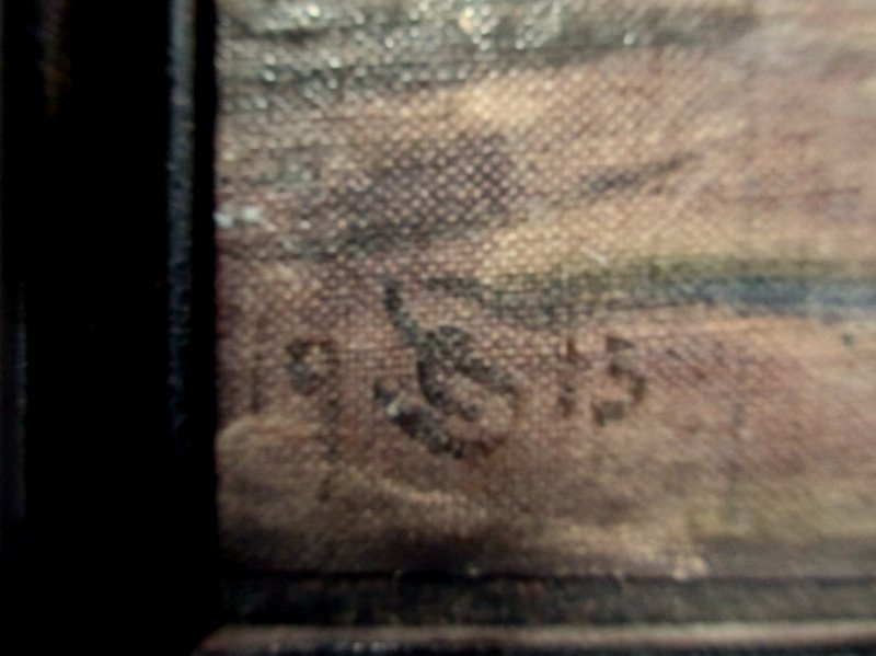 In the Casbah, oil on canvas laid to board, signed monogram CS 1915. Detail. Monogram.