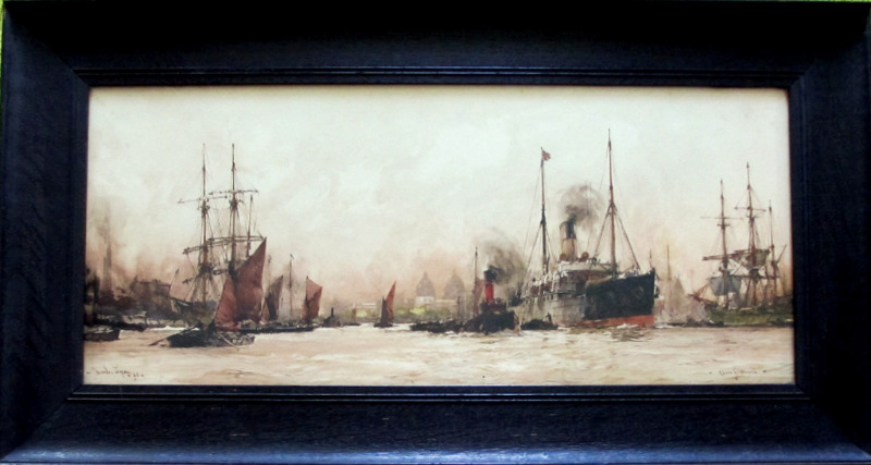 Above Greenwich, chromolithograph, signed Charles Dixon 09, c1910.