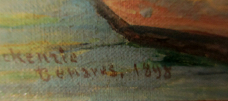 Benares, oil on canvas laid to board, signed R.D. MacKenzie 1898. Detail. Signature, title and date.