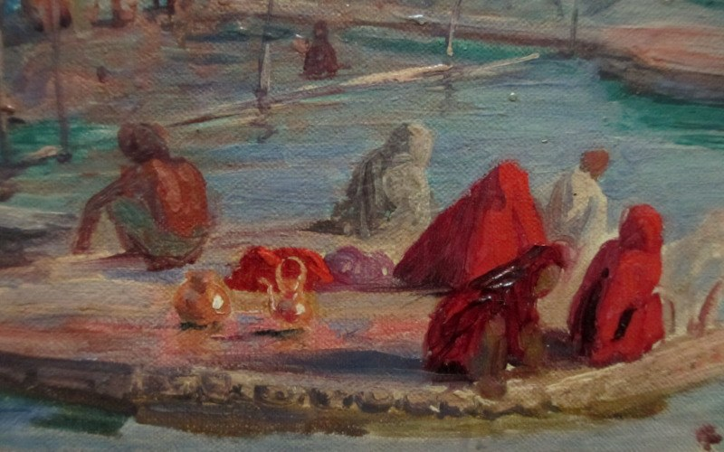 Benares, oil on canvas laid to board, signed R.D. MacKenzie 1898. Detail.