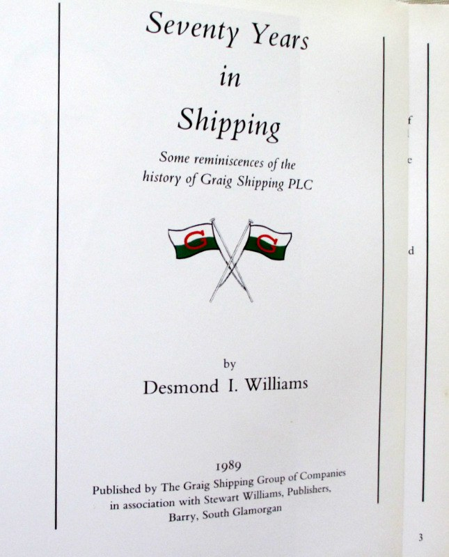 Seventy Years in Shipping by Desmond I Williams 1989 1st Edition signed. Detail.