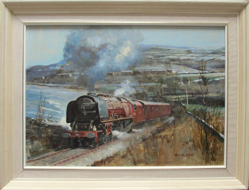 Stanier 8P, 4-6-2, 46229, Duchess of Hamilton, on the KWV Railway, oil on board, signed  Frank Wass. 1984.
