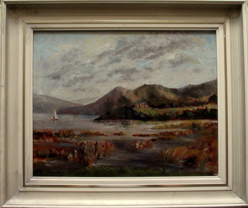 Windermere Viewed from Baron's Field, oil on canvas laid to board, signed T.E. Grimshaw. c1960.