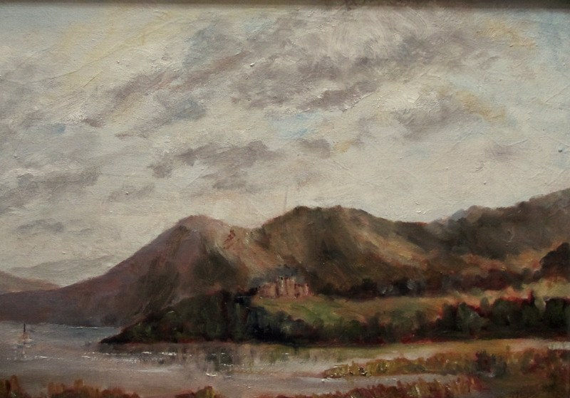 Windermere Viewed from Baron's Field, oil on canvas laid to board, signed T.E. Grimshaw. c1960. Detail.