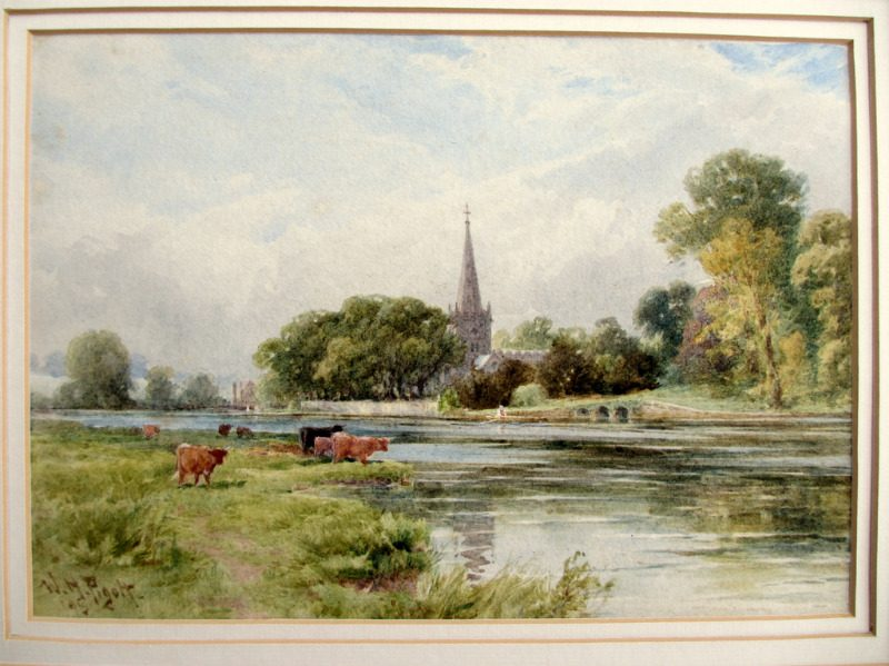 Trinity Church Stratford on Avon viewed from the river, watercolour, signed W.H. Pigott 1895.