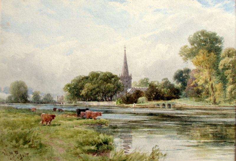Trinity Church Stratford on Avon viewed from the river, watercolour, signed W.H. Pigott 1895. Detail.