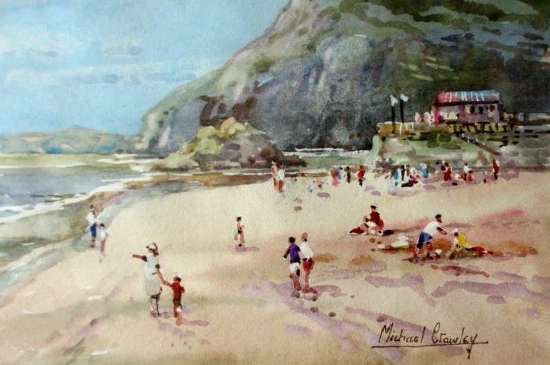 Sidmouth Devon, watercolour signed Michael Crawley c1985.