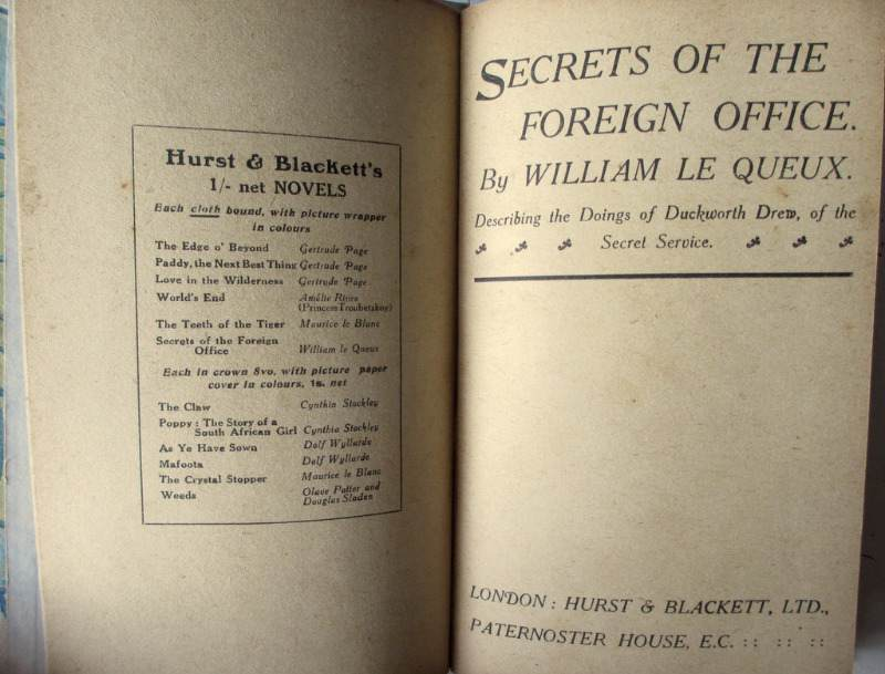 Secrets of the Foreign Office by William Le Queux, Hurst & Blackett Ltd., 1903. 1st Edn.