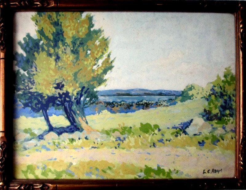 Road to Penetang, Lake Huron, Canada, watercolour, signed E.C. Adam.