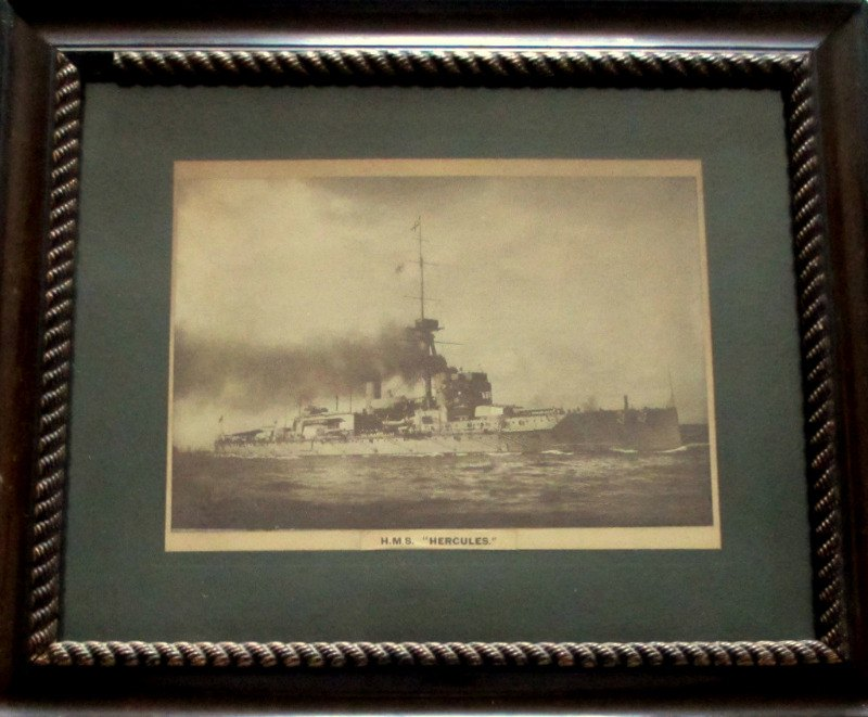 HMS Hercules, sepia toned photograph. Framed and glazed c1917.