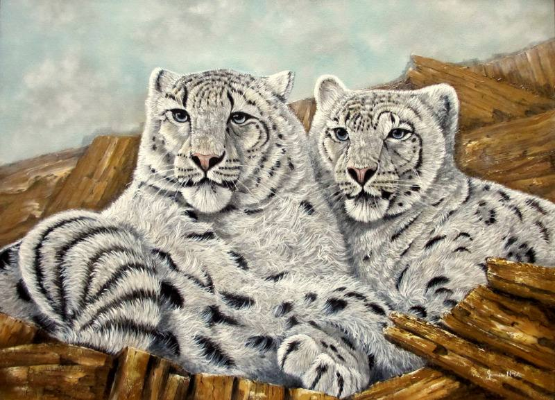 Pair of Snow Leopards, oil on canvas, signed James Noble c1980.