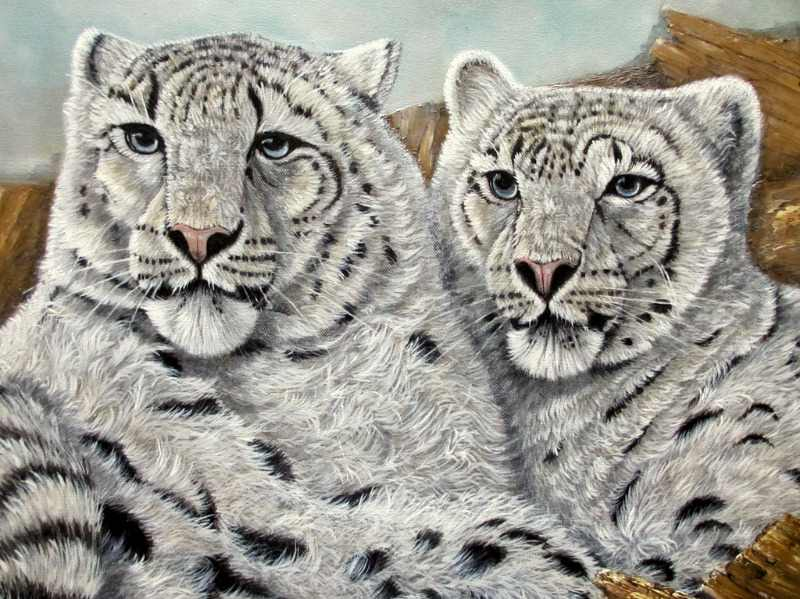 Pair of Snow Leopards, oil on canvas, signed James Noble c1980. Detail.
