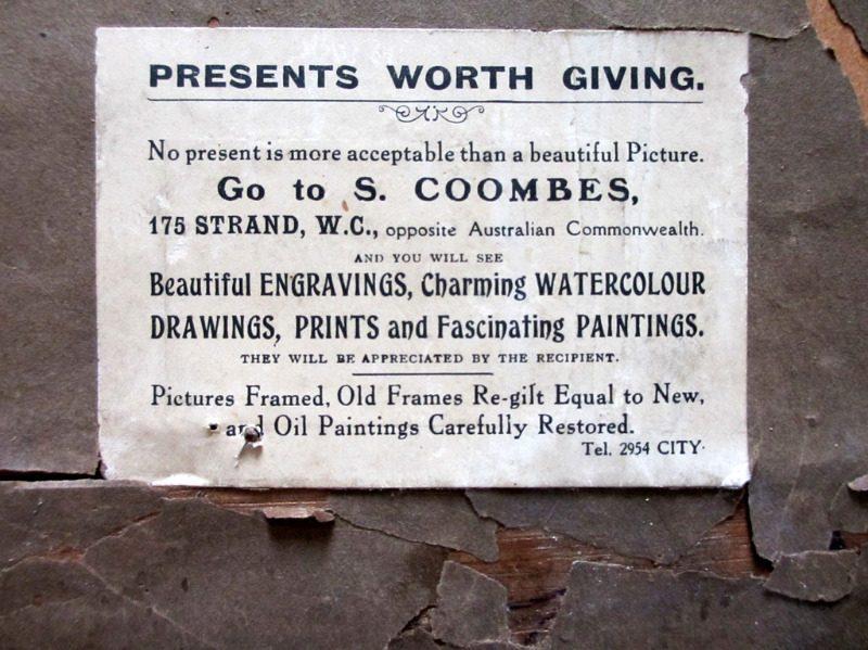 The Lower Pool, chromolithograph, signed Charles Dixon 09. 1909. Original oak frame. Detail. Frame, verso. Framer's label.