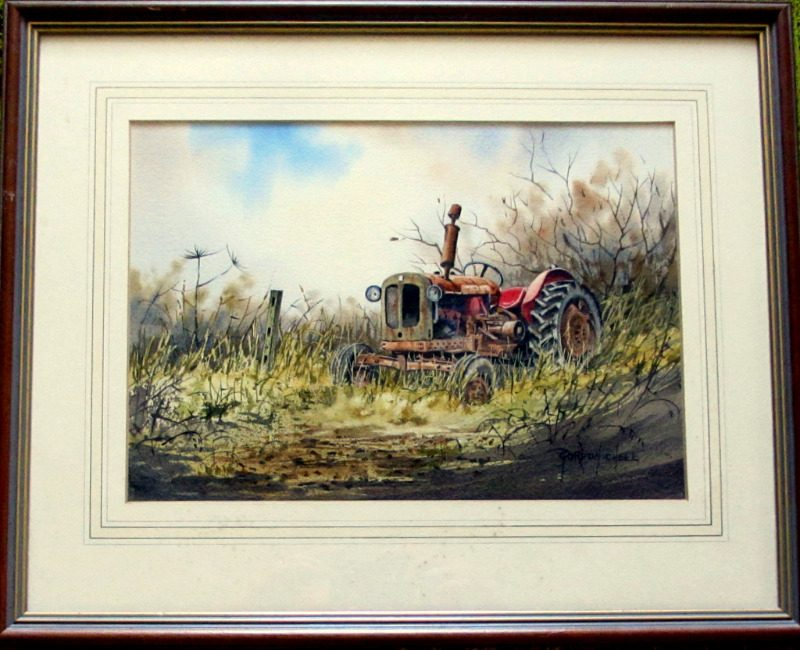 An Old Abandoned Nuffield Tractor, watercolour, signed Gordon  Chell, c1995.