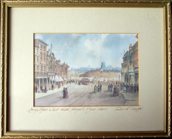 Towards Old Market Square Nottingham 1890, print (from original watercolour signed David Coupe), c1990.  SOLD  20.03.2017