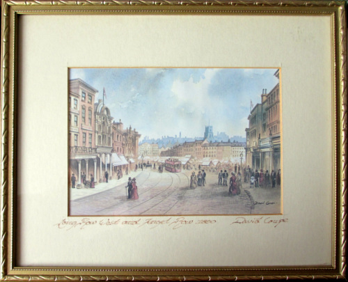 Towards Old Market Square Nottingham 1890, print (from original watercolour