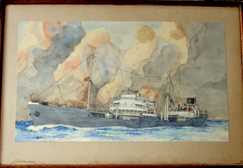 mv British Knight, BP Tanker at Sea, watercolour, signed W. Hodgson 2nd Mate. c1955.   SOLD  22.10.2015.