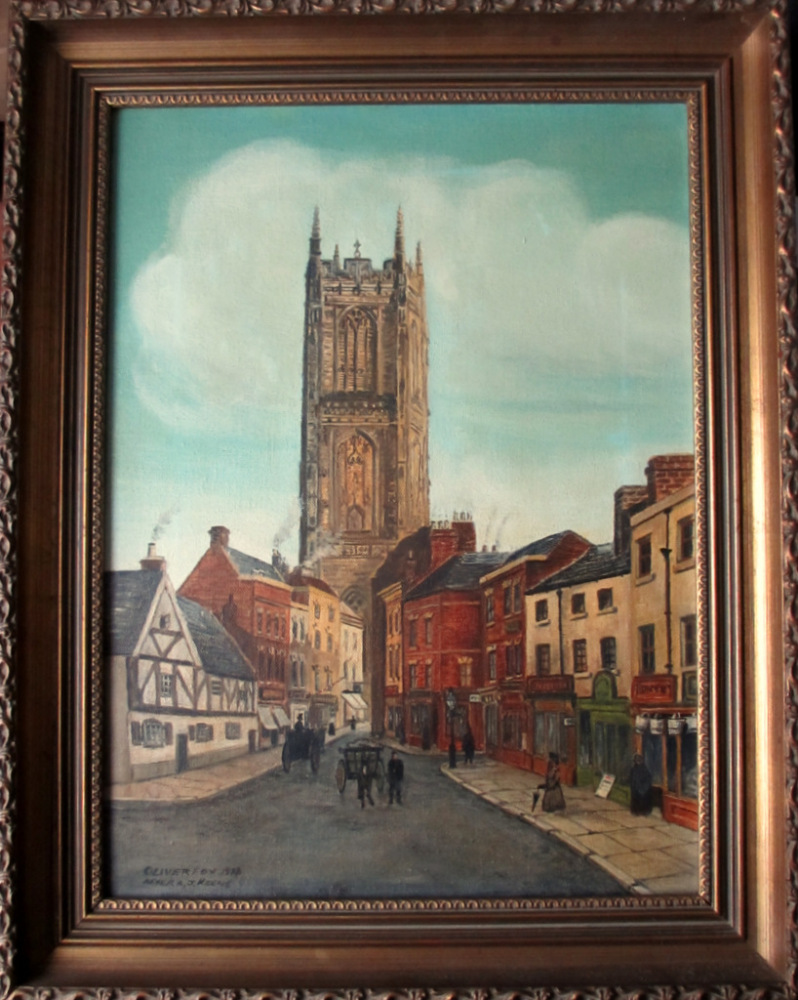 All Saints' Church, Derby, oil on canvas, signed Oliver Fox 1978. After A.J
