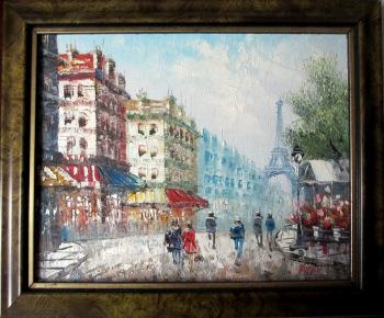 Parisian Street Scene, towards Eiffel Tower, oil on board, signed Burnett. c1950.