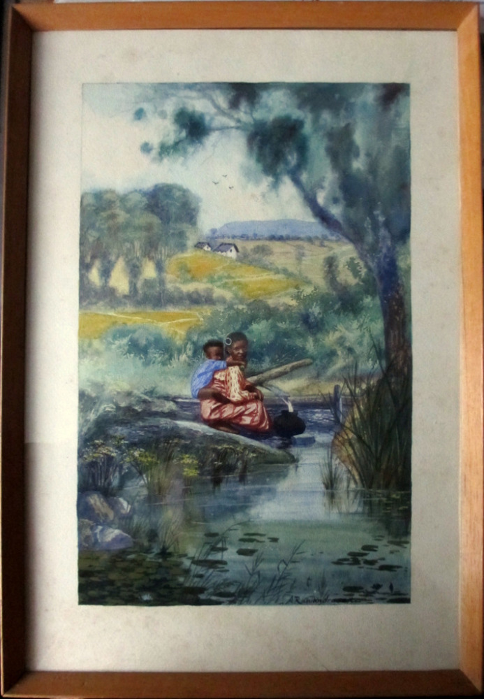 Mother and Child Collecting Water, watercolour, signed A. Ramiandrasoa. c19