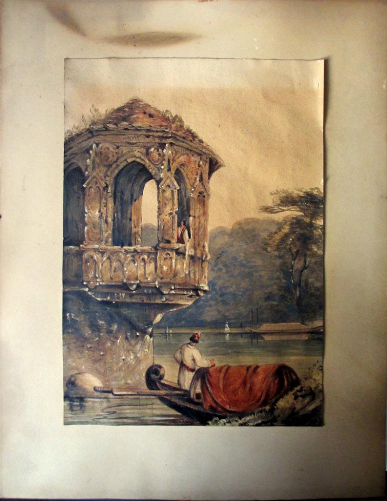 Venetian Lagoon Scene with Gondola and Figures, watercolour, indistinctly s