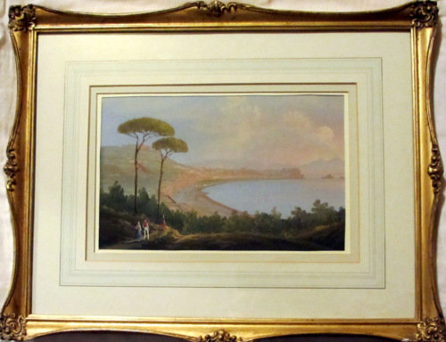 Bay of Naples with Vesuvius, gouache on paper, unsigned. c1900. Framed.